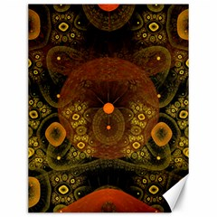 Fractal Yellow Design On Black Canvas 12  x 16