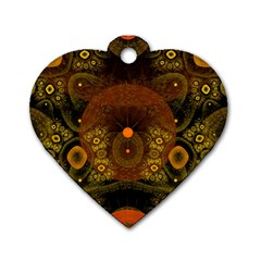Fractal Yellow Design On Black Dog Tag Heart (One Side)