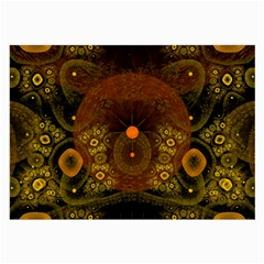 Fractal Yellow Design On Black Large Glasses Cloth