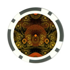 Fractal Yellow Design On Black Poker Chip Card Guard