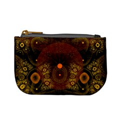 Fractal Yellow Design On Black Mini Coin Purses