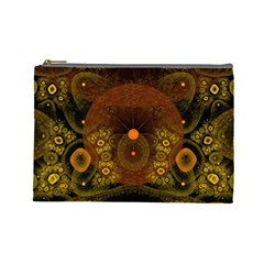 Fractal Yellow Design On Black Cosmetic Bag (Large)