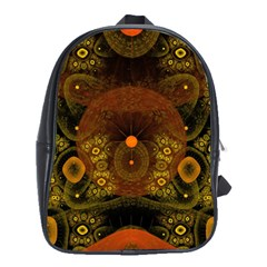 Fractal Yellow Design On Black School Bags(large)