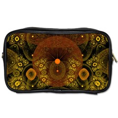 Fractal Yellow Design On Black Toiletries Bags