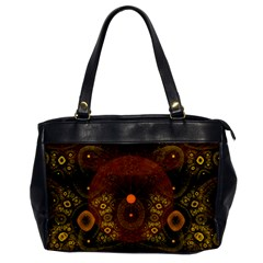 Fractal Yellow Design On Black Office Handbags