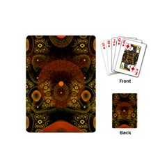 Fractal Yellow Design On Black Playing Cards (mini)