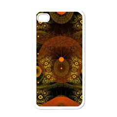 Fractal Yellow Design On Black Apple Iphone 4 Case (white)