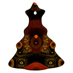 Fractal Yellow Design On Black Christmas Tree Ornament (two Sides)