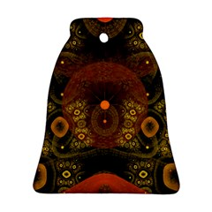 Fractal Yellow Design On Black Bell Ornament (Two Sides)