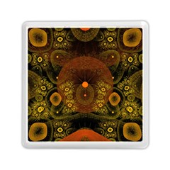 Fractal Yellow Design On Black Memory Card Reader (square)
