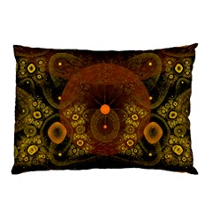 Fractal Yellow Design On Black Pillow Case (Two Sides)