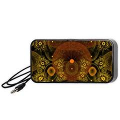 Fractal Yellow Design On Black Portable Speaker (black)