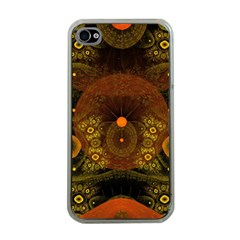 Fractal Yellow Design On Black Apple Iphone 4 Case (clear)