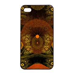 Fractal Yellow Design On Black Apple Iphone 4/4s Seamless Case (black)