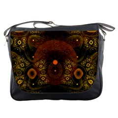 Fractal Yellow Design On Black Messenger Bags