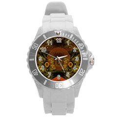 Fractal Yellow Design On Black Round Plastic Sport Watch (l)