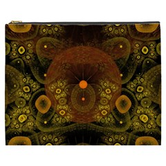 Fractal Yellow Design On Black Cosmetic Bag (xxxl)