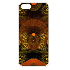 Fractal Yellow Design On Black Apple iPhone 5 Seamless Case (White)
