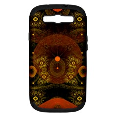 Fractal Yellow Design On Black Samsung Galaxy S Iii Hardshell Case (pc+silicone)