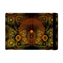 Fractal Yellow Design On Black Apple iPad Mini Flip Case