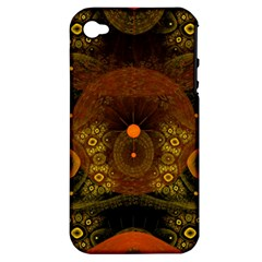 Fractal Yellow Design On Black Apple Iphone 4/4s Hardshell Case (pc+silicone)