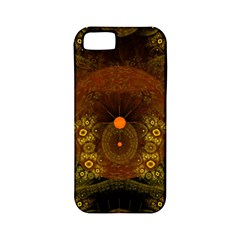 Fractal Yellow Design On Black Apple Iphone 5 Classic Hardshell Case (pc+silicone)