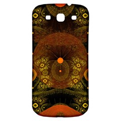 Fractal Yellow Design On Black Samsung Galaxy S3 S III Classic Hardshell Back Case