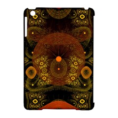 Fractal Yellow Design On Black Apple Ipad Mini Hardshell Case (compatible With Smart Cover)