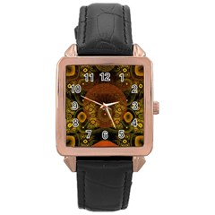 Fractal Yellow Design On Black Rose Gold Leather Watch
