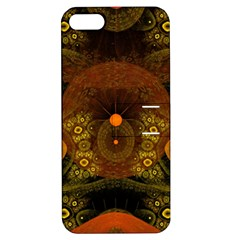 Fractal Yellow Design On Black Apple iPhone 5 Hardshell Case with Stand