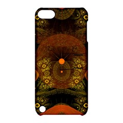Fractal Yellow Design On Black Apple iPod Touch 5 Hardshell Case with Stand