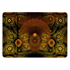 Fractal Yellow Design On Black Samsung Galaxy Tab 8 9  P7300 Flip Case