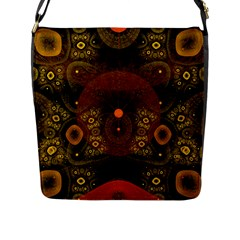 Fractal Yellow Design On Black Flap Messenger Bag (L)