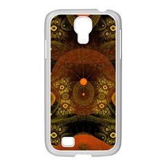 Fractal Yellow Design On Black Samsung GALAXY S4 I9500/ I9505 Case (White)