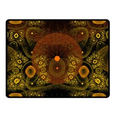 Fractal Yellow Design On Black Double Sided Fleece Blanket (Small)