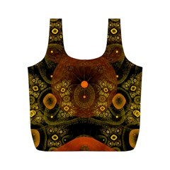 Fractal Yellow Design On Black Full Print Recycle Bags (m)