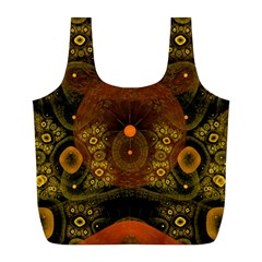Fractal Yellow Design On Black Full Print Recycle Bags (l)