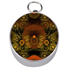 Fractal Yellow Design On Black Silver Compasses