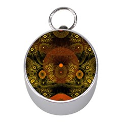 Fractal Yellow Design On Black Mini Silver Compasses