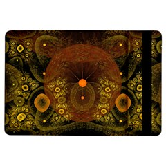 Fractal Yellow Design On Black Ipad Air Flip