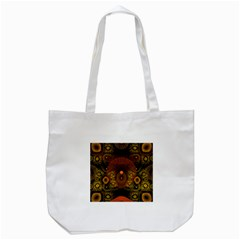 Fractal Yellow Design On Black Tote Bag (white)