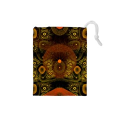 Fractal Yellow Design On Black Drawstring Pouches (small)