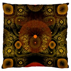 Fractal Yellow Design On Black Standard Flano Cushion Case (Two Sides)