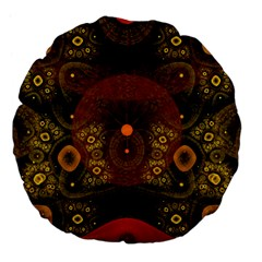 Fractal Yellow Design On Black Large 18  Premium Flano Round Cushions