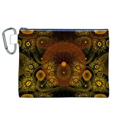 Fractal Yellow Design On Black Canvas Cosmetic Bag (XL)