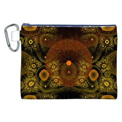 Fractal Yellow Design On Black Canvas Cosmetic Bag (xxl)