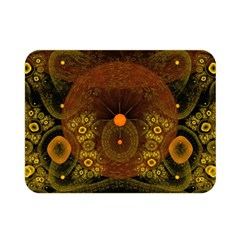 Fractal Yellow Design On Black Double Sided Flano Blanket (mini)