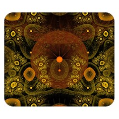 Fractal Yellow Design On Black Double Sided Flano Blanket (small)