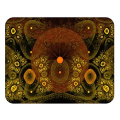 Fractal Yellow Design On Black Double Sided Flano Blanket (large)