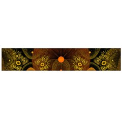 Fractal Yellow Design On Black Flano Scarf (Large)